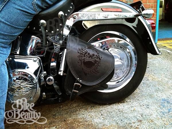 Orletanos Fat Skull Swing Bag Compatible with Harley Davidson Softail HD Luggage Bag Side Pocket Saddlebag Black Leather Fatboy Heritage Frame