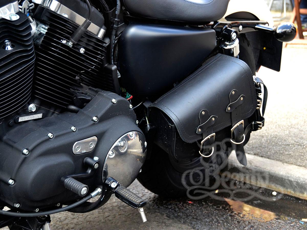 Black Leather Swingarm Single Side Pannier Saddle Bag