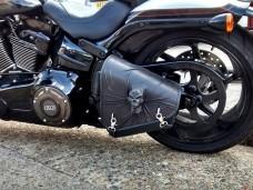 3D Skull Black Top Leather Swingarm Left Single Bag for Harley Davidson Breakout