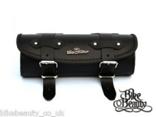Dr) Black Leather Pouch Tool Roll Bag Yamaha Dragstar xvs 125 400 650 1100