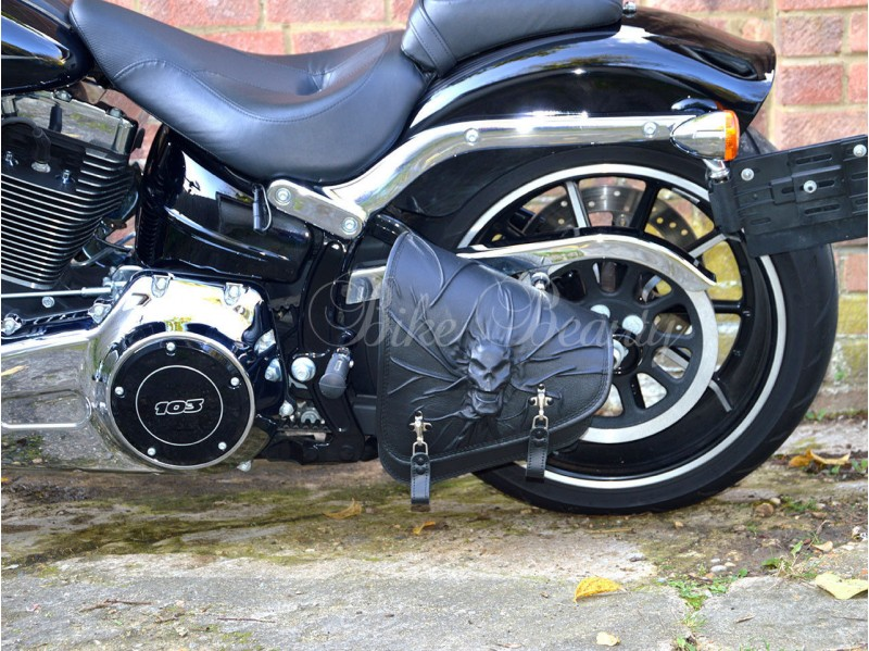 3d Skull Black Top Leather Swingarm Left Single Bag For