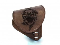 Brown Leather Swingarm Skull Embossed Right Sided Single Bag for Yamaha Dragstar / Vstar XVS650