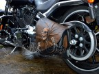 3D Skull Brown with Black Top Leather Swingarm Left Single Bag for Harley Davidson Breakout